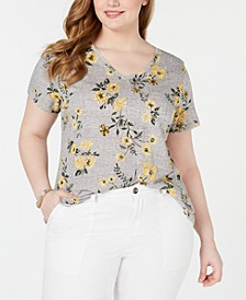 Cotton Plus Size Printed V-Neck Top, Created for Macy's