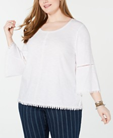172ec10e396 Style   Co Plus Size Crochet-Trim Bell-Sleeve Top