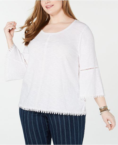 e94995271d2b ... Style & Co Plus Size Crochet-Trim Bell-Sleeve Top, Created for Macy's  ...