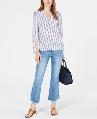 Double Stripe Tie-Sleeve Top