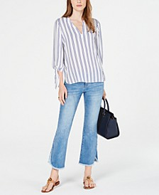 Striped Top & Cropped Flare Jeans