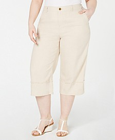 Plus Size Frayed-Trim Capris, Created for Macy's