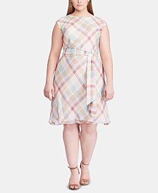 Lauren Ralph Lauren Plus Size Plaid Georgette Dress