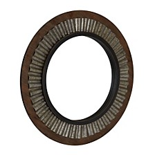 Wood Framed Sunburst Metal Mirror