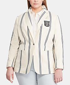 Lauren Ralph Lauren Plus Size Striped Blazer