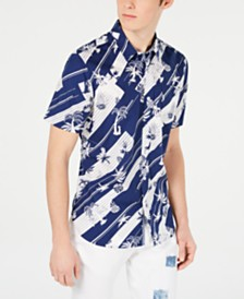 American Rag Men's Diagonal Stripe Tropical Shirt