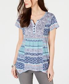 Style & Co Split-Neck Handkerchief-Hem Top, Created for Macy's