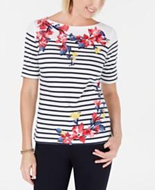 Karen Scott Petite Mixed-Print Elbow-Sleeve Top, Created for Macy's