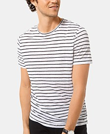 Michael Kors Men's Textured Stripe Linen T-Shirt