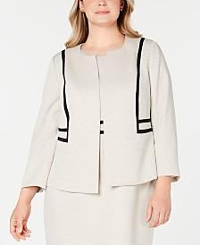 Kasper Plus Size Contrast-Detail Printed Jacquard Blazer