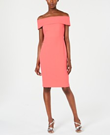 Calvin Klein Petite Off-The-Shoulder Sheath Dress