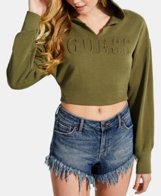 4939e370ed9d33 GUESS Cotton Cropped Embossed Hoodie   Reviews - Tops - Juniors - Macy s