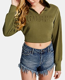 GUESS Cotton Cropped Embossed Hoodie