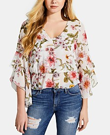 GUESS Jiya Printed Ruffled Bell-Sleeve Top