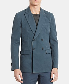 Men's Slim-Fit Double-Breasted Twill Blazer