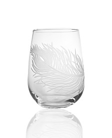 Rolf Glass Peacock Stemless 17Oz - Set Of 4 Glasses