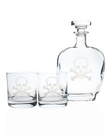 Rolf Glass Skull And Cross Bones 3 Piece Gift Set - Whiskey Decanter And Rocks Glasses