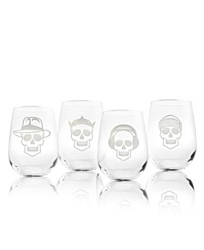 Numbskulls Stemless Wine Tumbler 17Oz - Set Of 4 Glasses