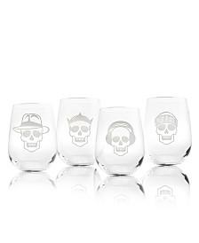 Rolf Glass Numbskulls Stemless Wine Tumbler 17Oz - Set Of 4 Glasses