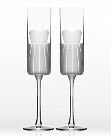 Rolf Glass Wedding Cheers Series 1 (Dress/Dress) Flute 5.75Oz - Gift Box Set Of 2
