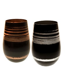 Rolf Glass Cosmo Mixed Silver And Bronze 16.5Oz Stemless Wine Tumbler - Set Of 2