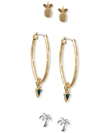 Lucky Brand Two-Tone 3-Pc. Set Earrings, Created for Macy's