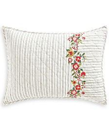 Martha Stewart Collection Embroidered Flowers Standard Sham, Created for Macy's