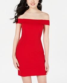 Teeze Me Juniors' Off-The-Shoulder Textured Bodycon Dress