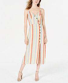 Speechless Juniors' Striped Button-Front Midi Dress