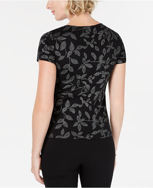 eb4858af325ea Karen Scott Glitter-Print Henley T-Shirt