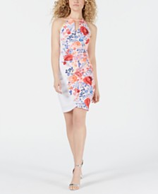 GUESS Keyhole Floral-Print Dress