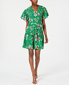 Petite Flutter-Sleeve Floral Dress