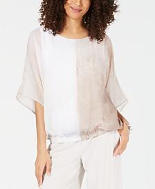 Alfani Colorblocked Smocked-Hem Top, Created for Macy's