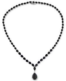 """Onyx & Diamond (1/8 ct. t.w.) Graduated Runway 17"""" Pendant Necklace in Sterling Silver"""