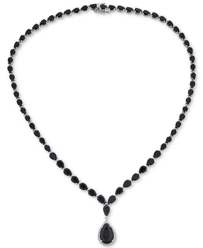 """Macy's Onyx & Diamond (1/8 ct. t.w.) Graduated Runway 17"""" Pendant Necklace in Sterling Silver"""