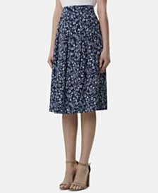 Tahari ASL Petite Print Box Pleat Midi Skirt