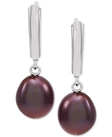 Cultured Freshwater Baroque Brown Pearl (9mm) Drop Earrings in Sterling Silver