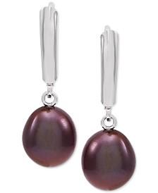 Cultured Freshwater Baroque Brown Pearl (9mm) Drop Earrings in Sterling Silver