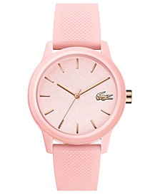 Women's 12.12 Pink Rubber Strap Watch 36mm
