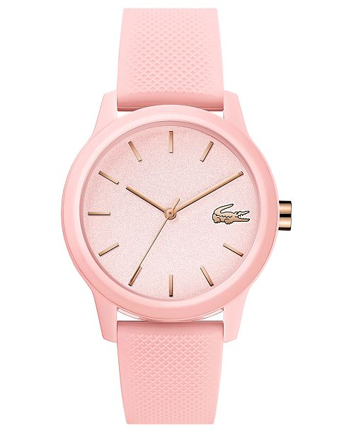 Lacoste Women's 12.12 Pink Rubber Strap Watch 36mm