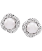 d91751cf5 Cultured Freshwater Pearl (7mm) & Diamond Accent Knot Stud Earrings in  Sterling Silver