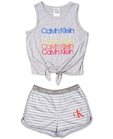 Calvin Klein Big Girls 2-Pc. Tie-Waist Pajama Set