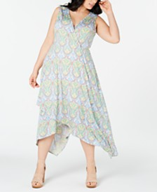 Love Squared Trendy Plus Size Paisley Handkerchief-Hem Dress