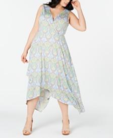 Love Squared Trendy Plus Size Paisley Handkerchief-Hem Dress