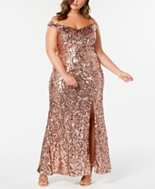 Nightway Plus Size Off-The-Shoulder Sequined Gown
