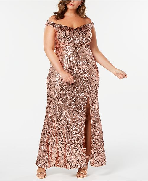 Nightway Plus Size Off-The-Shoulder Sequined Gown ...