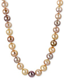 """Multicolor Cultured Freshwater Pearl (9-1/2-11-1/2mm) 24"""" Statement Necklace in 14k Rose Gold"""
