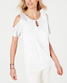 JM Collection Studded Cold-Shoulder Top, Created for Macy's