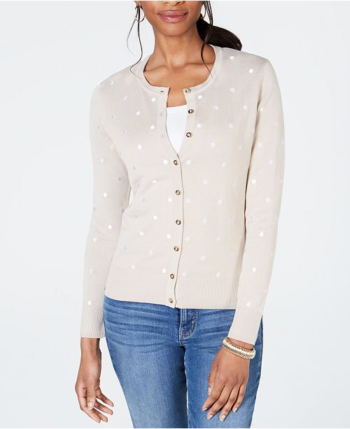 Charter Club Printed Button-Down Cardigan, Created for Macy's