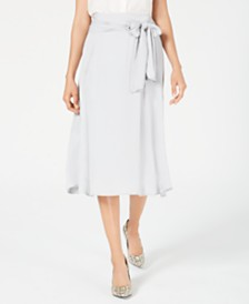 Alfani Satin-Tie Smocked Midi Skirt, Created for Macy's
